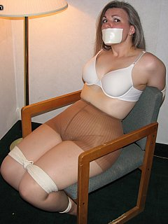 Pantyhose tied to a chair