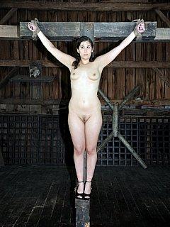 Nude woman crucifixion Bondage