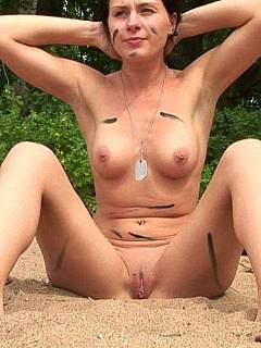 Sergeant is taken the lesbian rookie soldier for a nude outdoor training