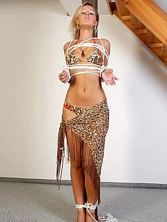 Something bondage woman to pole does