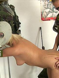 Female rookie is forced to workout naked but with her head in a gas mask