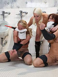 Group of four MILF ladies are doing terrible things related to BDSM and electric orgasms