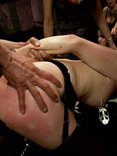 BDSM slut is degraded in front of the crowd of more than 70 people