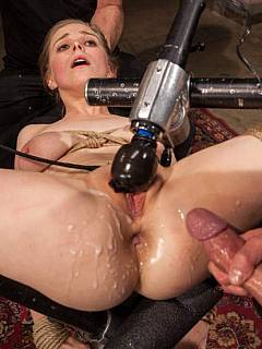 Bondage slut is fucked in restraints: cum is all over her pussy and mixing with her own squirt