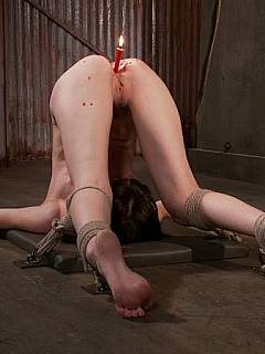 Saving filthy whore from her sluttiness with tight bondage ropes and burning candles