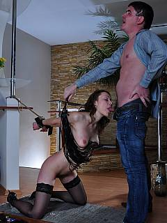 on wife knees slave Submissive