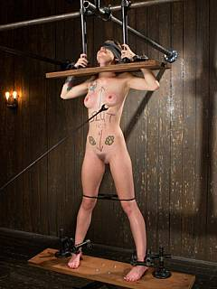 woman stocks bondage Naked