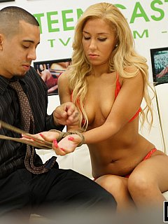 Dominant master prefers his fuck dolls to be tied up when put in use and sexy blond bimbo is not an exception