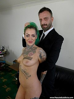 Tattooed whore is feeling strong arms of the fuck-master ready to make her to go on her knees and start blowing