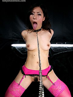 Pretty in pink loves when her hands are tied behind the back and master pulls her by the hair making use of her as of BDSM cock slut