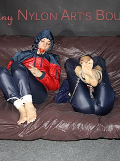 Girlfriends are binding each other with ropes and handcuffs and exposing their asses in thin nylon