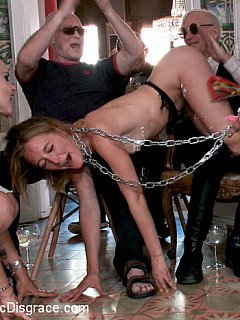 MILF slut takes a day of submission where she is dragged across the town on a chain leash and given to strangers as duck-foll to play with