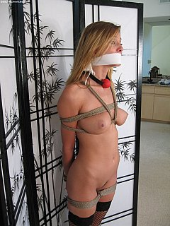 Slave auction started and another sexy babe is on sale. Take a closer look is the tied up gal before making your bets.