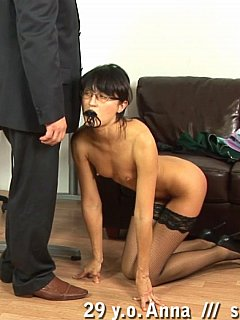 Submissive secretary is something any boss can be proud of, enjoy her nude in fishnets getting punished in his office
