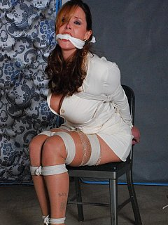 Great job of tying up curvy secretary with lots of rope and putting cloth gag into her mouth
