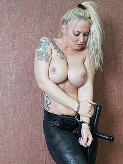 Dealing with criminals is not easy: busty MILF cop ended up with her uniform ripped down and cuffed with her own set of cuffs