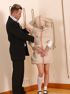 Teacher s sick and tired of the naughty schoolgirl so he puts her into the bag and binds girl with ropes