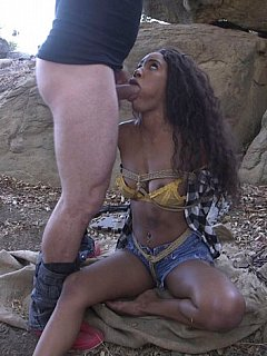 White guy does the right thing when finds a beautiful black girl tied, chained and gagged in the woods. He fucks her really hard!