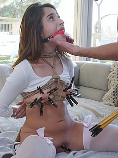 Mom submits in bondage and her daughter joins her in BDSM threesome sex