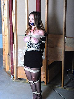 Enjoying a girl pole-tied, gagged and her juicy boobs exposed