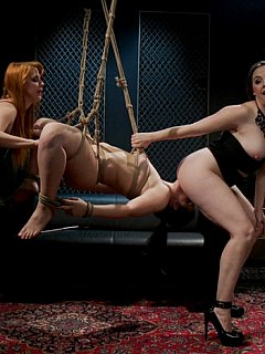 Spoiled MILFs are turning younger slut into helpless an constantly cumming BDSM slave