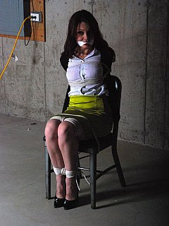 Chair-tied secretary with a nice view of her mouth cleave gagged and hot legs roped