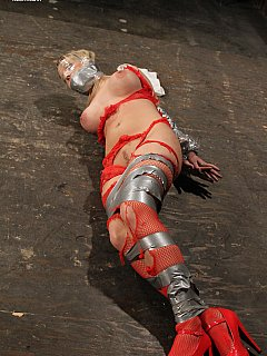 Hot blonde bound with dict tape and then manhandled violently