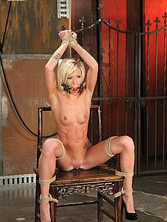 Find out how woman feels once tied naked to chair with her legs spread and then fucked with sex toy